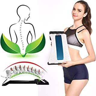 Back Stretcher Device - Lower Back Pain Relief, Lumbar Stretching Treatment,Spinal Stenosis - Posture Corrector - Back Support for Office Chair(White/Blue)