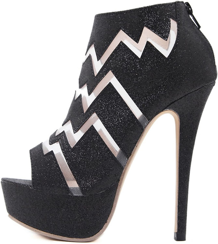 Quality.A Sexy Platform high Heels Platform Rear Zip Stiletto Heels Open-Toe Sandals