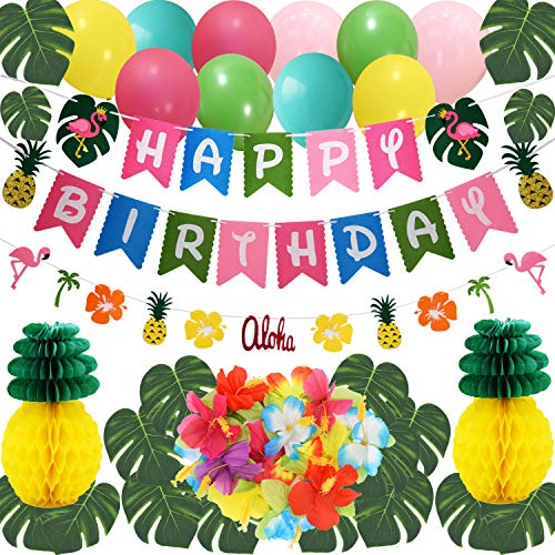 THAWAY Hawaiian Flamingo Pineapple Decor Luau Party Supplies Birthday Decorations includes Birthday Banner, Artificial Tropical Palm Leaves, Hibiscus Flowers, Tissue Paper Pineapples, Party Balloons