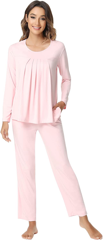 NACHILA Women's Bamboo Pajamas Long Pj Soft Sleeve Ranking TOP5 Bargain sale Sleepwear Set