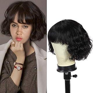 Dressmaker Human Hair short Curly Wigs With Bangs 100% Brazilian Human Hair Wigs Machine Made Glueless Short Bob Wigs for ...