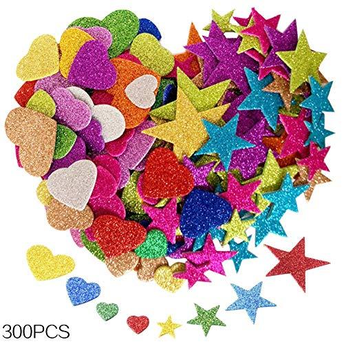 Bosdontek 300 Stück Glitter Schaumstoff Sticker Selbstklebendes Stern-Miniherz-dekorativer Aufkleber für Wand-DIY Fertigkeit-Verzierung Satz