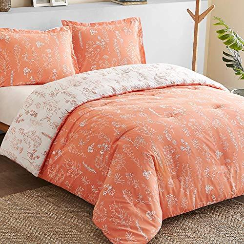 Bedsure Floral Comforter Set Queen Size Bed Coral Orange &