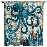 ECONIE Octopus Shower Curtain Ocean Animal Landscape Waterproof Polyester Blackout Draperies Window Solid Grommet with 12 Hooks for Bedroom Livingroom Bathroom,71 x 71 (12)