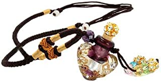 Joyci Handmade Glazed Glase Aromatherapy Necklace Essential Oil Diffuser Pendant with Origin Cork Cover (Purple)