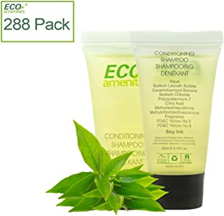 ECO Amenities Individually Wrapped Mini Size 0.75 ounce Shampoo and Conditioner 2 in 1, Green Tea Scent, 288 Tubes per Case