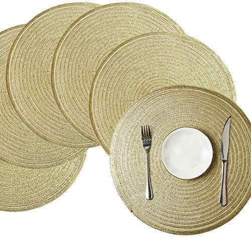 Comius Sharp Juego de manteles redondos Juego de 6 Manteles individuales de algodón Lavables Manteles individuales resistentes al calor de 15 pulgadas Manteles individuales para mesas de cocina (Gold)