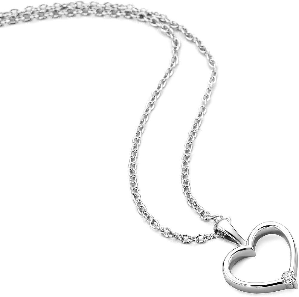 Orovi,collana per donna ,con pendente a forma di cuore in oro bianco 9kt(1,5 gr) con diamante OR81000N