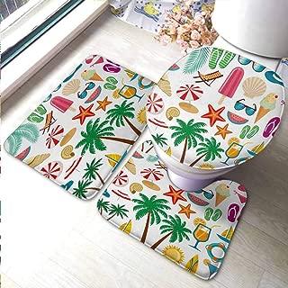 DayOn Rugs Toilet Lid Cover U Shaped Nonslip Beach,Summer Icons Trees Bikini Glasses Umbrella Starfish Watermelon Abstract Vacation,Multicolor,Anti-Slip Cooking Kitchen Carpets