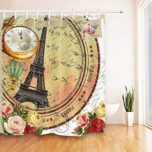 Reloj de Flores Torre Eiffel Vintage Impresión HD, Cortina de Ducha Impermeable para baño, 12 Ganchos Gratis, 180x180cm