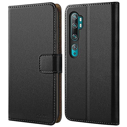 HOOMIL Handyhülle für Xiaomi Mi Note 10 Hülle, Xiaomi Mi Note 10 Pro Hülle Leder Tasche Flip Hülle Schutzhülle Schwarz