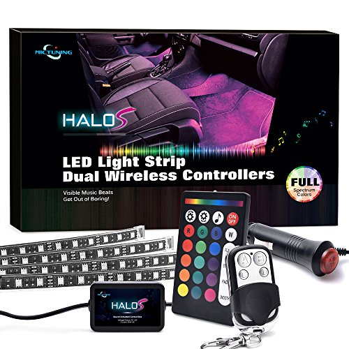 MICTUNING Car LED Strip Light 4pcs 48 LEDs Multicolor Interior Underdash Lighting Kit with Sound Active Function, Music Mode and Wireless Remote Control