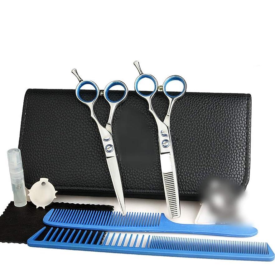 バレル直径平行5.5インチ理髪はさみセット、フラット+歯シザー理髪はさみツールセット モデリングツール (色 : Silver)