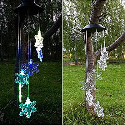 iMeshbean LED Color-Changing Power Solar Wind Chimes Yard Home Garden Decor US (Snowflakes)