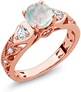 Gem Stone King 1.56 Ct Round Cabochon White Simulated Opal 18K Rose Gold Plated Silver Engagement Ring (Available 5,6,7,8,9)