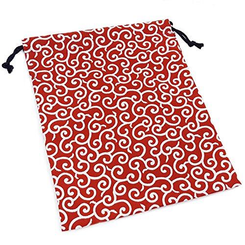 『巾着袋 小 和柄 赤×唐草模様 ハンドメイド 日本製』のトップ画像
