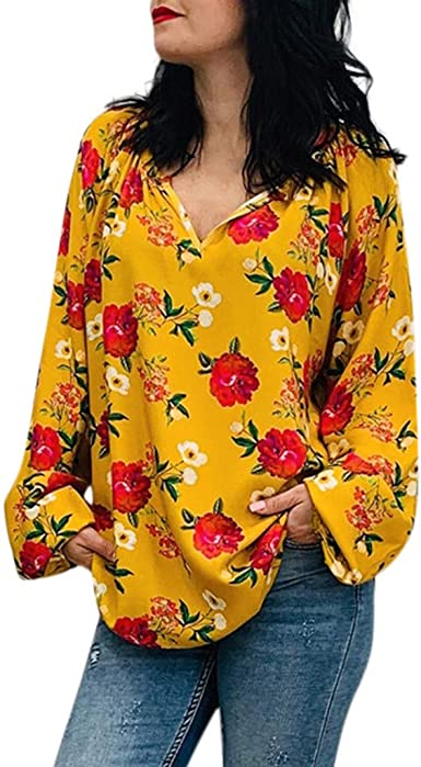 Camisas Estampadas Flores Mujer Blusas Sueltas de Manga Larga ...