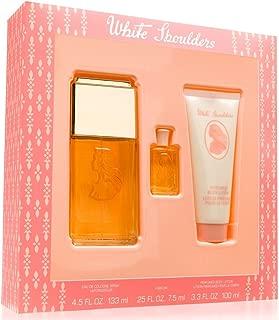 White Shoulders for Women by Evyan, Gift Set - 4.5 oz Cologne Spray + .25 oz Mini + 3.3 oz Body Lotion