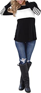Blooming Jelly Women's Long Sleeve Round Neck Elbow Patched Color Block Stripe Shirt Tops
