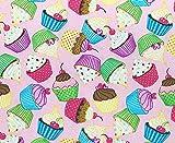 Stoff aus 100 % Baumwolle – niedliche Cupcakes auf rosa
