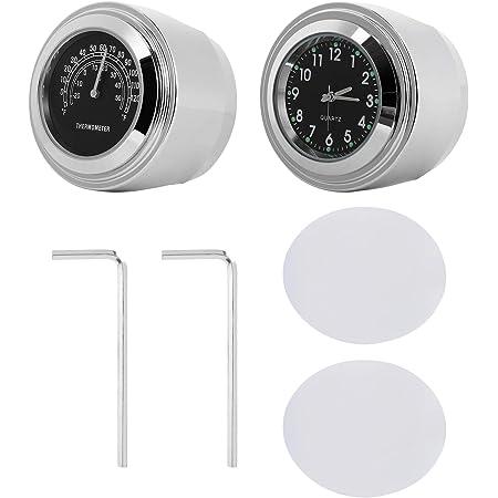 WINOMO 2pcs Motorcycle Handlebar Clock and Thermometer Black Handlebar Clock Digital for Yamaha Kawasaki Honda Suzuki