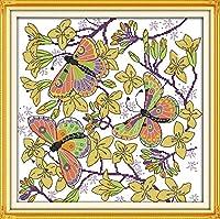 クロスステッチセット、モチーフ:蝶、花、言語、大人、子供、初心者向け、クロスステッチ、エンボス刺繍、家の装飾、40 x 50 cm(11 CTプレプリントキャンバス)