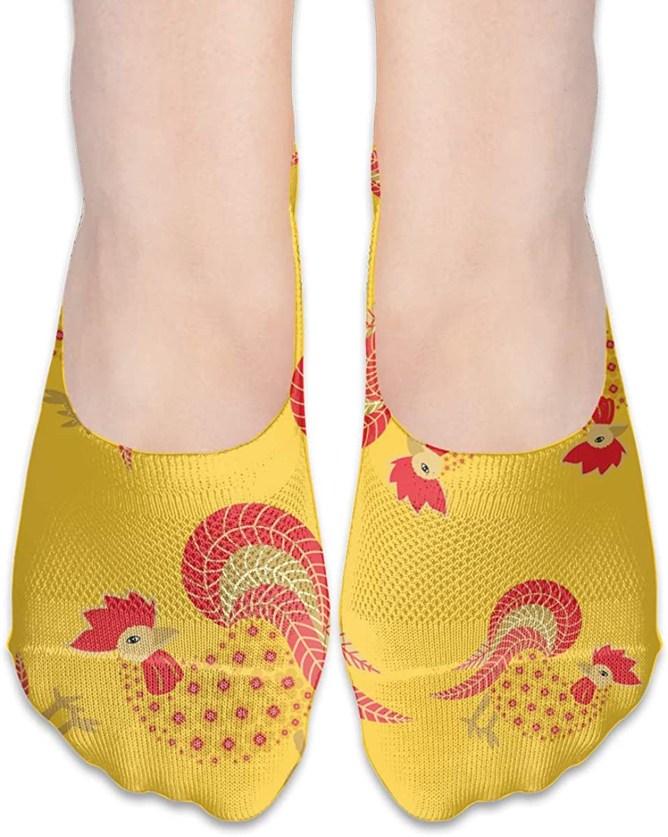 No Show Socks Women Men For New Year Roosters Yellow Flats Cotton Ultra Low Cut Liner Socks Non Slip