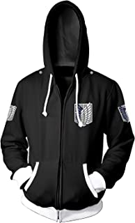 Men Attack on Titan Long Sleeve Full-Zip Bomber Jacket Hooded Varsity Jacket