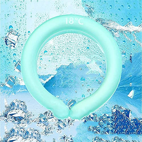 Uhndwk ICY Cooling Neck Tube Cool Freeze Neck Band Repeat Reusable, Neck Cooling Ring Summer Heatstroke Prevention Ice Cushion Tube, Cooling Neck Wraps for Summer Heat Wearable Cooling Neck(Green)