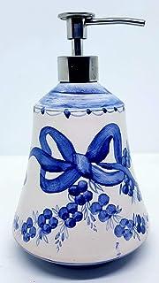 Dosatore Linea Fiocco Blu Ceramica Handmade Le Ceramiche del Castello Made in Italy Dimensioni 20 x 12 cm