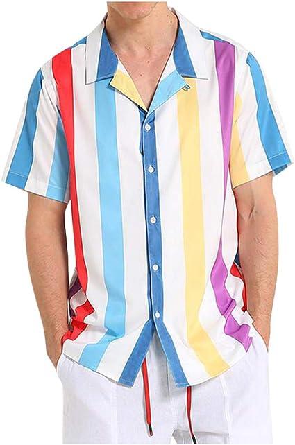 Camisas Hawaianas Hombre Camisetas Hombre Manga Corta A Rayas ...