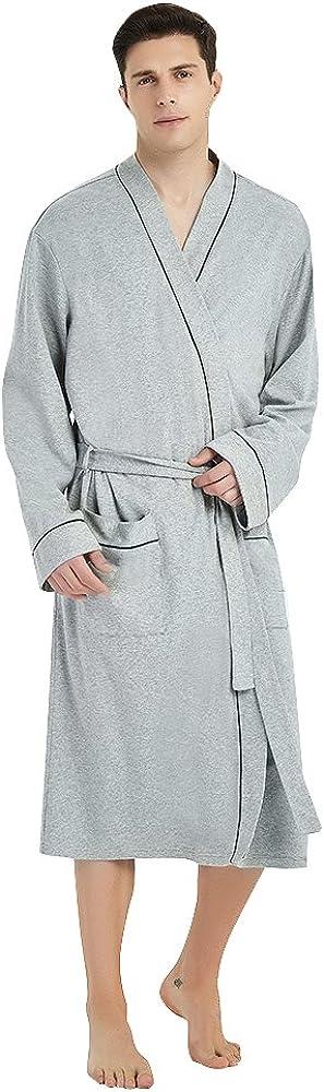 U2SKIIN Mens Cotton Robe Lightweight Knit Bathrobe at  Men's Clothing store