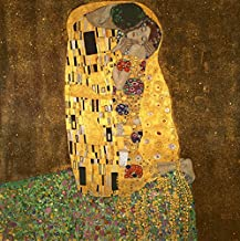 Wieco Art Extra Large The Kiss by Gustav Klimt Famous Oil Paintings Reproductions Stretched and Framed Modern Giclee Canvas Prints Artwork Pictures on Canvas Wall Art Ready to Hang for Home Decor XL