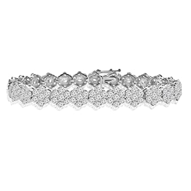 Madina Jewelry 10.65 ct Ladies Round Cut Diamond Tennis Bracelet in (Color G Clarity SI-1) in 14 Kt White Gold