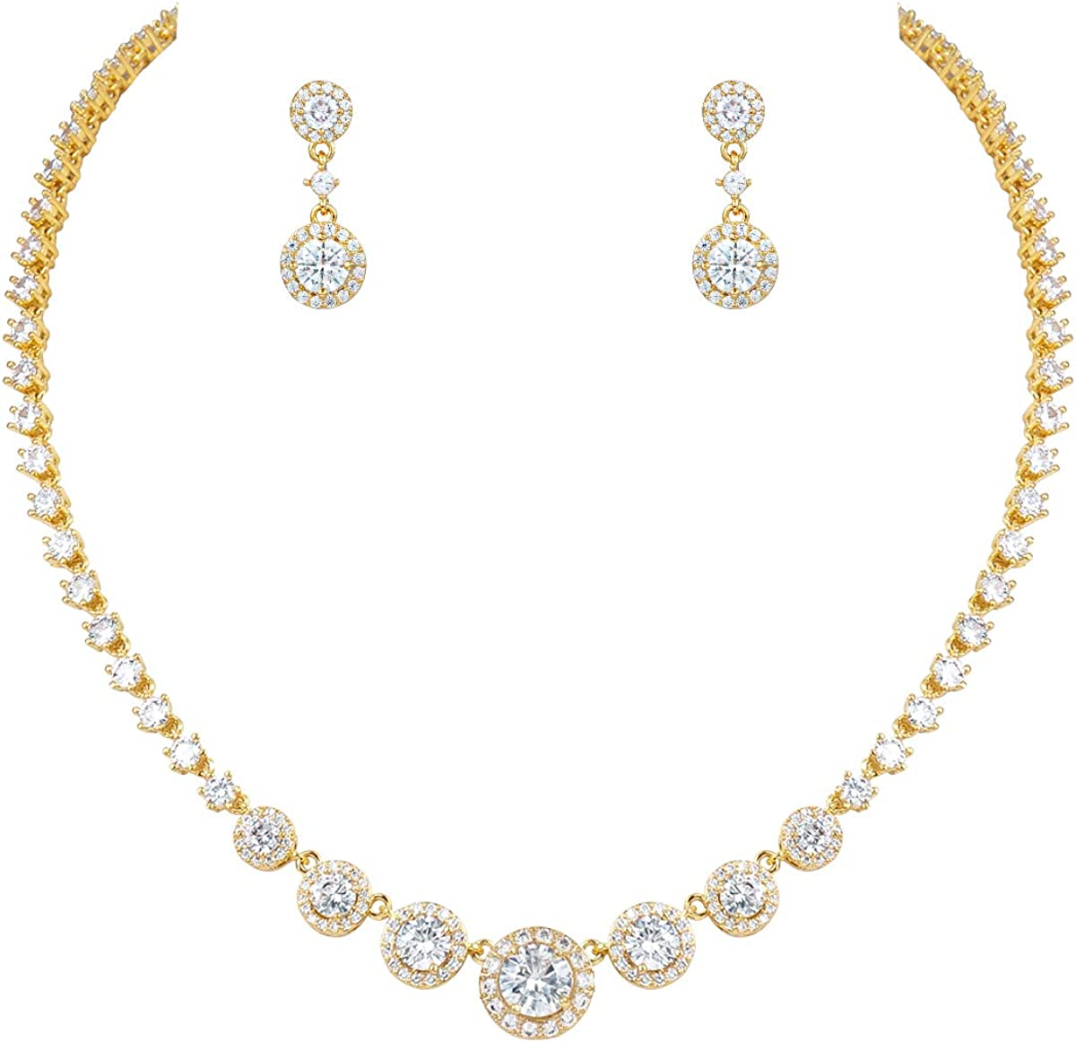 MEEDOZ White Gold/Gold/Rose Gold Plated Women's Classic Round Cubic Zirconia Tennis Pendnat Necklace and Dangle Earrings Jewelry Sets for Bridal Wedding