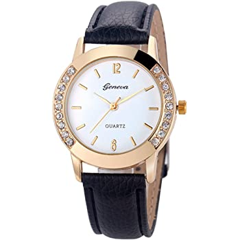 COOKI Womens Watch, Unique Analog Fashion Lady Watches Female Watches Casual Wrist Watches for Women,Round Dial Case Comfortable PU Leather Watch-H09