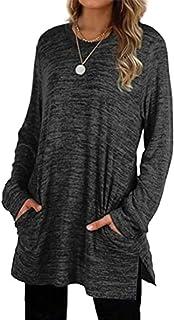 Womens Basic Colors Sweatshirts Long Sleeve Shirts Oversized with Pocket Tunic Tops S-2XL