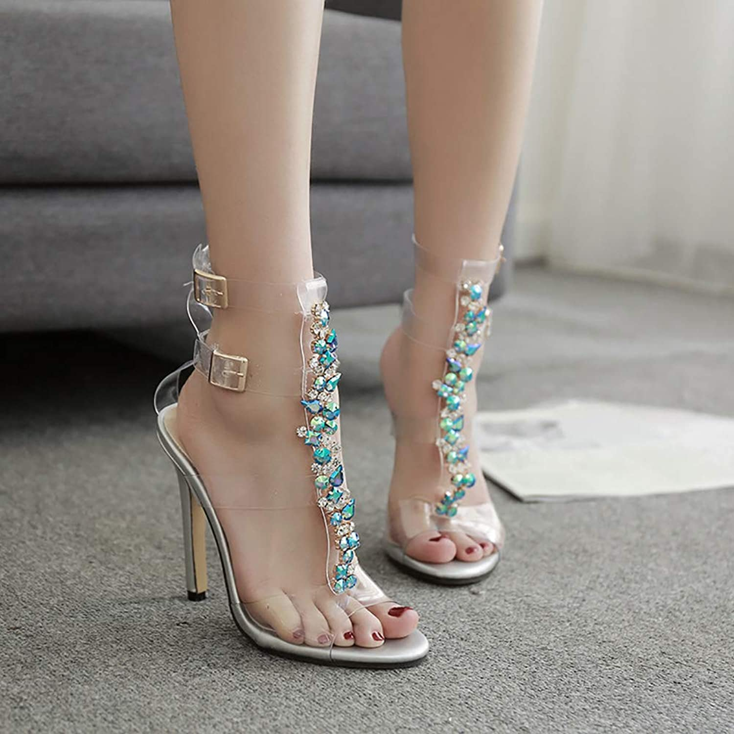High Heel Sandals, Ankle Strap Open Toe Comfortable Party Heeled Sandals Strappy Cross Ankle Strap Classic Open Toe shoes,39