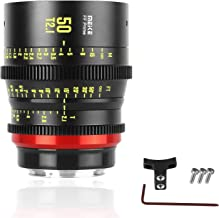 Meike 50mm T2.1 Full-Frame Manual Focus Wide Angle Prime Cinema Lens for Canon EF Mount and Cine Camcorder ZCAM E2-F6, E2-F8, Canon EOS C500 Mark II, and S35 EOS C100 Mark II, EOS C200, Zcam E2-S6 6K