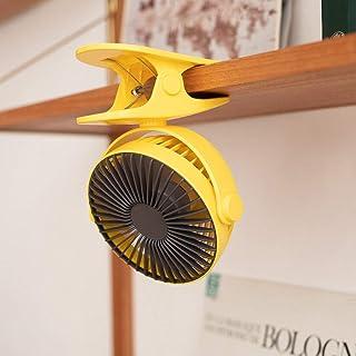 HGFER Mini Ventilador USB,Ventilador con Clip USB, Ventilador Portátil Portátil Cochecito Recargable Luz Led Ventilador, Refrigeración Amarillo Silencioso Ventilador Eléctrico Eléctrico para Dormitor