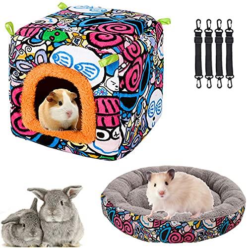 Cama de casa para mascotas pequeña para mascotas Hamster Cama colgante casa hamaca con patrón de dibujos animados jaula de lona con cojín de felpa Combo Conejitos Chinchillas erizos (Set-C)