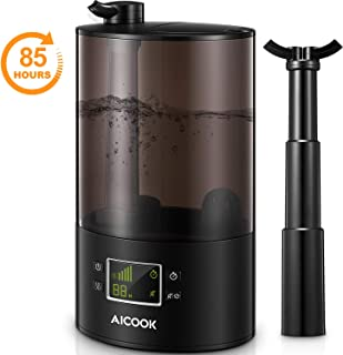 AICOOK Humidifiers, 85 Hrs Large Room Cool Mist Humidifier, Top Fill Ultrasonic Humidifier for Bedroom & Baby Room, 360 Dual Nozzles & Collapsible Pipe, Whisper Quiet, Auto Shut-Off&Timer Function