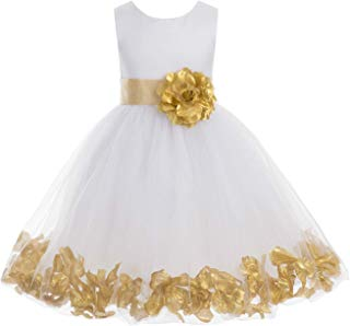 ekidsbridal Wedding Pageant Flower Petals Girl White Dress with Bow Tie Sash 302a