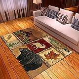 CQIIKJ Alfombra Estampada Caqui marrón Negro Rojo Animal Oso Ciervo Alfombra Antideslizante Alfombra Lavable 80 x 160 cm para la Entrada de casa, baño o Dormitorio Lavandería