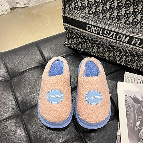 Kirin-1 Zapatillas de Estar en casa Hombre Divertidas,Cientos de Zapatillas de algodón de película Gruesa Mujeres Calientes Gruesos Interiores antideslizantes-40/41_Rosado
