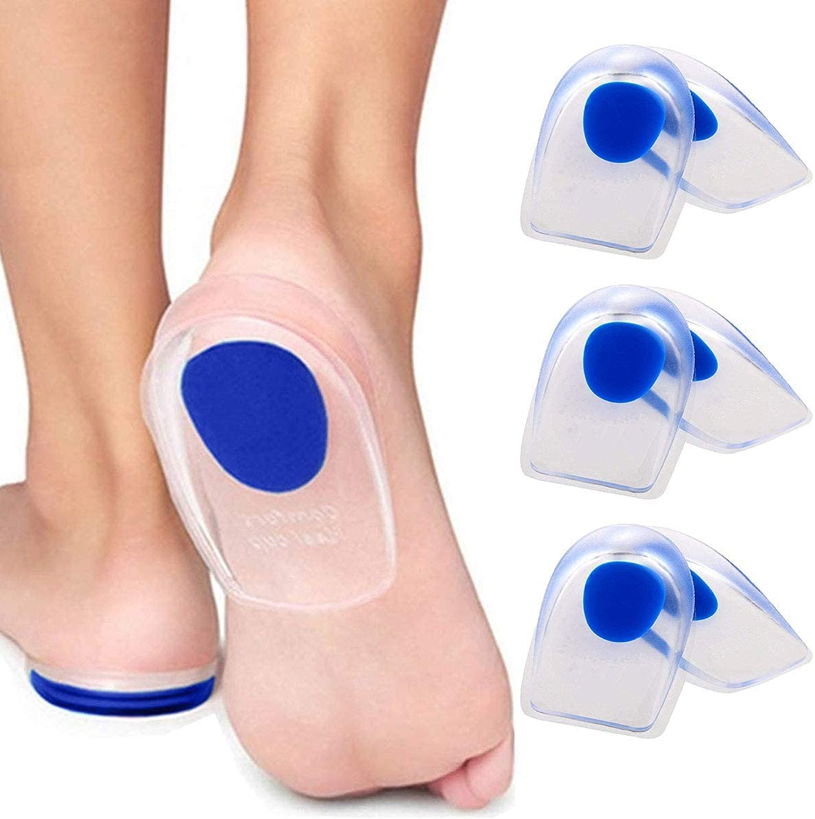 3 Ultra-Cheap Deals Pair Gel Heel Cups Plantar Silicone Large special price !! Fasciitis - Inserts He