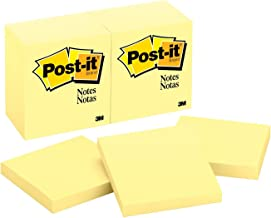 Post-it Notes, Canary Yellow, Call out Important Information, Recyclable, 3 in. x 3 in, 12 Pads/Pack, 100 Sheets/Pad (654)