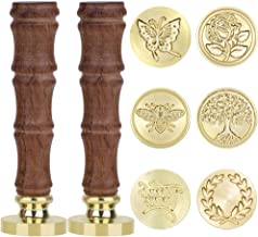 Anezus Wax Seal Stamp Set, 6Pcs Sealing Wax Stamps Copper Seals with 2Pcs Wooden Hilt, Vintage Retro Classical Initial Seal Wax Stamp Kit for Invitations Cards Letters Envelopes Wine Packages