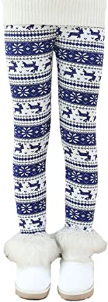 81470456f66 Fancy Youyee Toddler Kids Girls Pants Winter Thick Fleece Lined Christmas  Leggings Tights