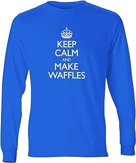 shirtloco Men's Keep Calm and Make Waffles Long Sleeve T-Shirt